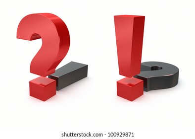 question and exclamation sign on white background