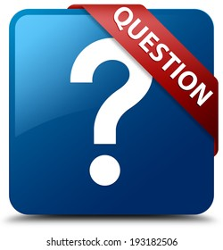 Question glossy blue square button