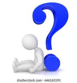 question mark 3d blue stickman rendering illustration with sitting sad man in a hopeless asking pose isolated on white background in high resolution for business presentations internet and multimedia