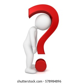 question mark 3d man people interrogate asking worried broken uncertain sad tired sick ill customer person figure character hanging shoulders head down stick figure isolated on white background