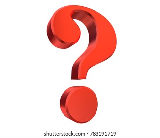 question mark 3d red interrogation point punctuation mark rendering query sign isolated on white