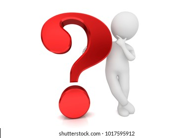 question mark 3d red query interrogation punctuation thinking man asking questions isolated on white background