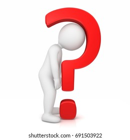 question mark 3d red rendering illustration sad stick man uncertainty worried standing funny person interrogation point punctuation mark asking sign query symbol isolated on white background