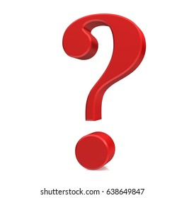 question mark 3d rendering illustration colored red interrogation sign isolated on white background with reflection and shadow on ground in high resolution for business presentation and internet