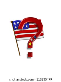 """Question mark , in the alphabet set """"Stars and Stripes,"""" is red with three stars decorating it.  A Flag sits behind letter on a white background."""