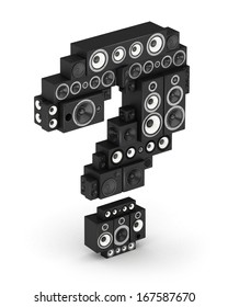 Question mark from black woods hi-fi speakers sound systems in isometry