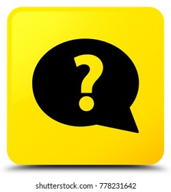 Question mark bubble icon isolated on yellow square button abstract illustration