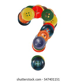 question mark ?   buttons alphabet made of colorful plastic sewing buttons, isolated on white