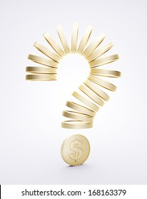 Question mark of the coins