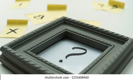 Question mark in the frame. Question, Relationship. STickers