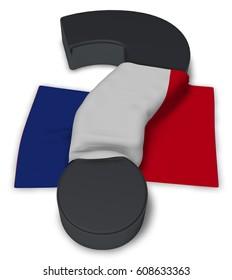 question mark and france flag - 3d illustration