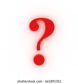 question mark illustration 3d high end rendering interrogation point asking sign question icon query question symbol red 3d isolated on white background with colored ambient shadow for business