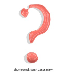 Question mark made of paint drops color living coral. Isolated on white background. 3d rendering.