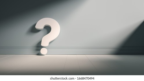 Question mark on blue background wall, empty room, banner, space for text.