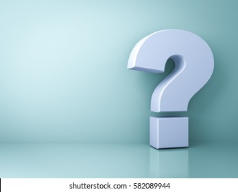Question mark on green background with shadow and reflection . 3D rendering.