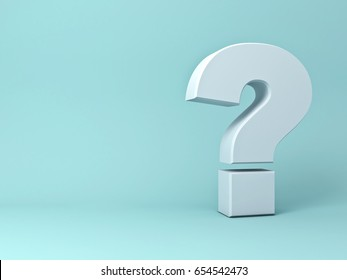 Question mark on green background with shadow . 3D rendering.