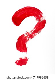 Question mark. Painted with a red paint symbol.