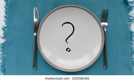 question mark in a plate, eat, diet, anorexia