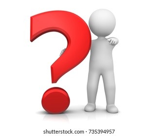 question mark red 3d interrogation point asking sign punctuation mark rendering illustration with pointing stick man isolated on white