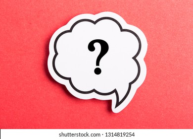 Question mark speech bubble isolated on red background.