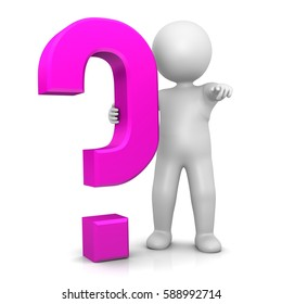 question mark stick man 3d pink isolated symbol business V6