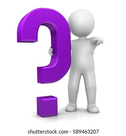 question mark stickman 3d isolated purple symbol icon large V6