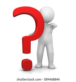 question mark stickman 3d isolated red symbol icon large V3