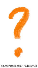 Question mark symbol drawn with a wax crayon isolated over the white background