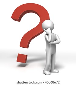 Question Mark Thinking (3D character in Deep thought)