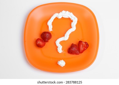 question mark with whipped cream