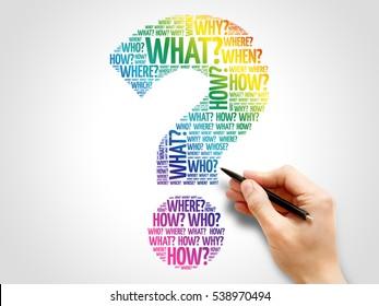 Question mark, Question words cloud business concept
