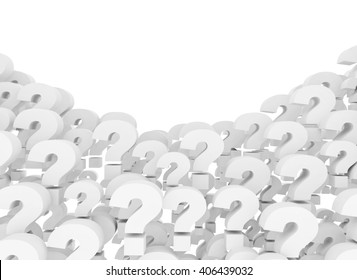 Question marks 3d background isolated on white background. 3D rendering