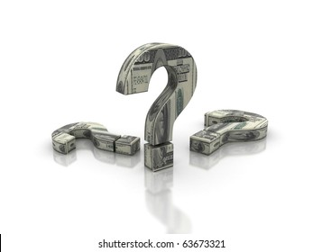 Question marks and dollar bills