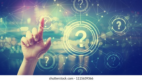 Question Marks with hand pressing a button at night