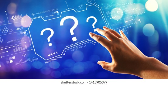 Question marks with hand pressing a button on a technology screen