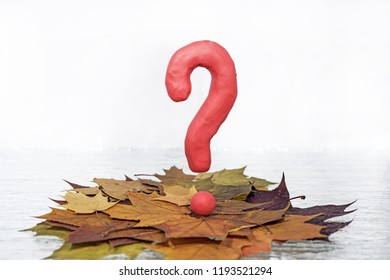 Question sign on autumn leaves background with candle lantern.
