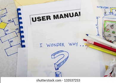 Question sketch with engineering sketches and user manual book.