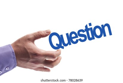 Question word in male hand