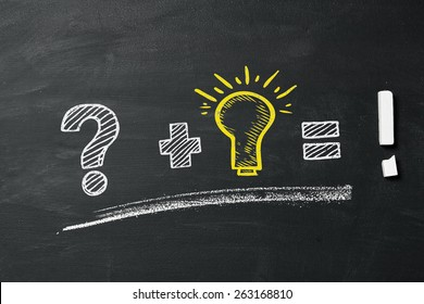 Questionmark, lightbulb and exclamation point as concept on blackboard