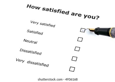 questionnaire about the level of satisfaction with a pen
