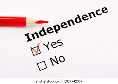 Questionnaire concept. Independence heading with Yes and no checkboxes and red pencil.
