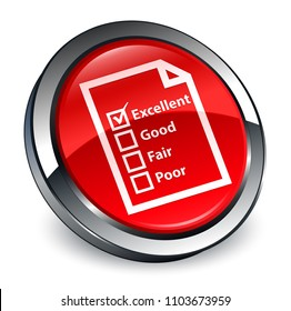 Questionnaire icon isolated on 3d red round button abstract illustration