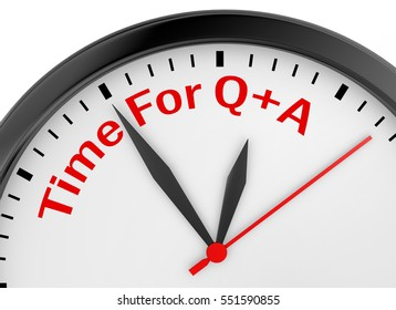 Questions and answers motivation message on concept clock, 3d rendering