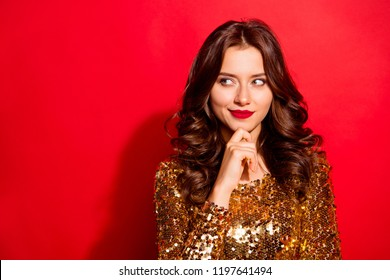 Questions, choose, choice concept. Close up portrait of charming, cheerful, cute, cunning, sly, foxy lady with modern wave hairstyle look aside touch chin by hand isolated on vivid red background