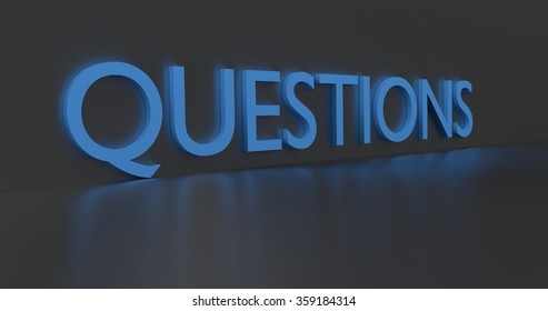 Questions concept word - blue text on grey background.
