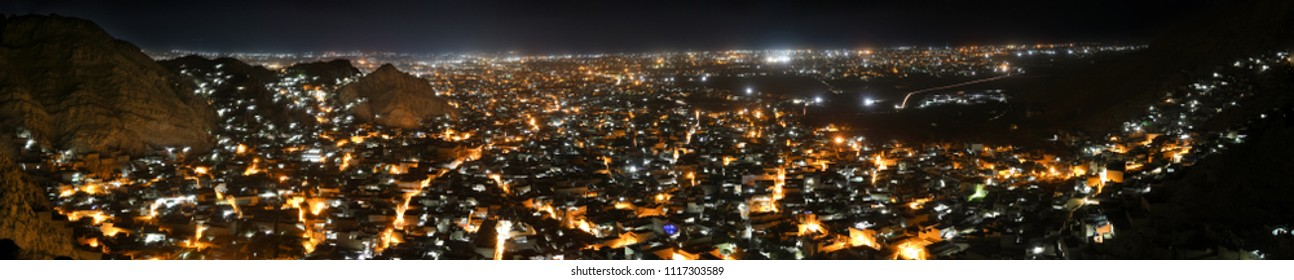 Quetta City Night View From the Top of Mountain