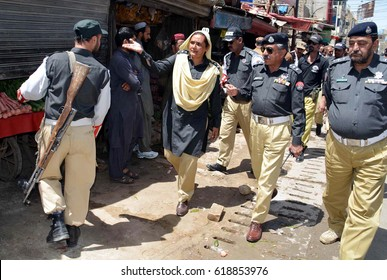 QUETTA, PAKISTAN - APR 10: Anti encroachment drive operated by Quetta Traffic Police Department led by Senior Superintendent Police Quetta (SSP) Traffic and DSP Traffic on April 10, 2017 in Quetta.