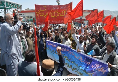 QUETTA, PAKISTAN - APR 12:  Workers of BDA are holding protest rally against nonpayment of their salaries, under the umbrella of Pakistan Workers Confederation, on April 12, 2017 in Quetta.