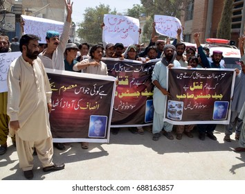 QUETTA, PAKISTAN - AUG 01: Activists of Jamhoori Watan Party are holding protest  demonstration against abduction of Kamal Khan Bugti, on August 01, 2017 in Quetta.
