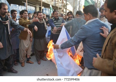 QUETTA, PAKISTAN - DEC 10: Naujawanan-e-Pakistan are holding protest against Israel and USA, outside press club on December 10, 2017 in Quetta.